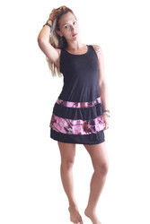 Tank Dress/Skater Dress Black With Pink Floral.