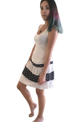 Tank Dress/Skater Dress White With Black Polka Dots.