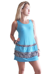 Tank Dress/Skater Dress Blue With Black Tribal.