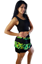 Tank Dress/Skater Dress Black With Green Floral Ruffle.