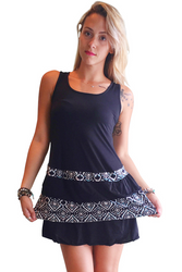 Tank Dress/Skater Dress Black With Teal Tribal Ruffle.