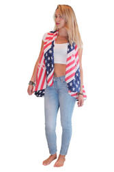 BOUTIQUE AMERICAN FLAG SLEEVELESS PONCHO IN CLASSIC RED, WHITE & BLUE. USA! USA!