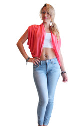 Over-the-Shoulder, Open Cardigan from Ambiance Apparel! Coral.