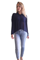 Navy Blue Long Sleeve Chiffon Top from EVENT!
