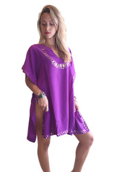 Deep Purple Indian Kaftan Tunic With Gold Metal Sequins! Made in India. (One Size Up To 18)