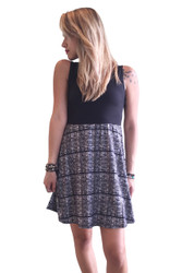 Black Skater Dress With Black & White Plaid Pattern.