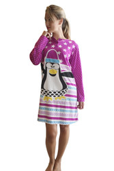 65% Cotton Night Dress! Pajama Sleep Shirt With Two Buttons. Stars & Penguin! Purple.