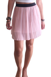 Accordion Pleat Skirt in Soft Pink with Black Waistband from Xhiliration!