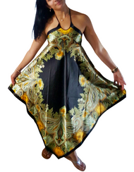 Silky Indian Style Boho Halter Dress! One-Size Up To Size 14 Black/Gold Paisley.
