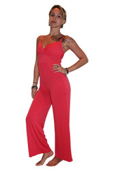 Full Length Stretch Jumpsuit in Solid Coral! From Derek Heart!