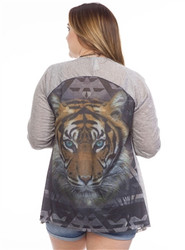 Heather Grey Flyaway Cardigan with Oversized Tiger Face!