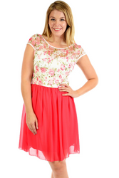 PLUS SIZE Pink & White Floral Lace Dress!