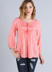 100% Rayon! Boho Peasant Top with Cutouts & Tassels. Peach Floral Print.