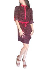 Long Sleeve Shirt-Dress with Collar and Fabric Belt. Red with Black.