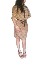 Long Sleeve Shirt-Dress with Collar and Fabric Belt. Mocha with Black.