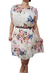 Plus Size Belted Floral Dress With Keyhole Back! Cream With Floral Pattern.