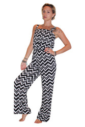Black & White Chevron Striped Romper / Jumpsuit!