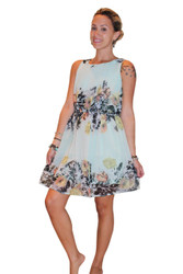 Fully Lined Floral Dress With Keyhole Back! Mint.