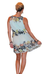 Fully Line Floral Dress With Keyhole Back! Sage Green.