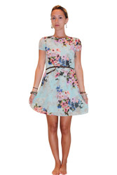 Fully Line Floral Dress With Keyhole Back! Mint Blue.