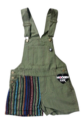 100% Cotton Romper in Army Green with Tribal Pattern Jute Accents!