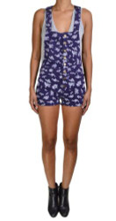99% Cotton Corduroy Romper in Purple with Floral Pattern!