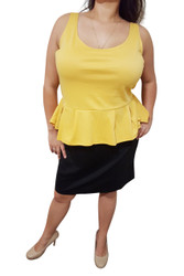 PLUS SIZE Peplum Dress from Amazing Brand: CAREN SPORT! Mustard & Black Colorblock.