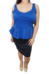 PLUS SIZE Peplum Dress from Amazing Brand: CAREN SPORT! Blue & Black Colorblock.