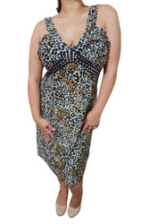 Plus Size Animal Print Dress With Studded Neckline! Hint Of Olive Green Cheetah Print.