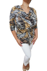 Plus Size Cowl Neck Top With Knotted Front. Brown Animal Print.