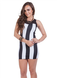 Black & White Vertical Stripe Dress with Sheer Lace Accent!