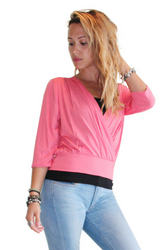 Pullover Cardigan With 3/4 Length Sleeves. Coral. Juniors Plus Size.