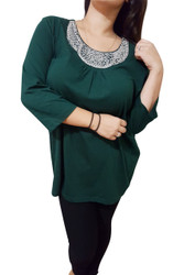 PLUS SIZE Top With Jeweled Neck Line. Forest Green.