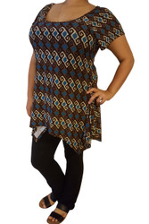 PLUS SIZE Top is 5% Spandex! Made in the USA by FEELIB! Blue/ Brown Geo Tribal Pattern.