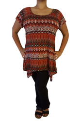 PLUS SIZE Tribal / Aztec Pattern Top is 5% Spandex! Made in the USA by FEELIB! Color: Rust.