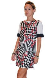 Ivory Dress with Black/Orange Print  & Zipper Back! From Toi et Moi!