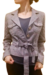 Belted Classic Blazer is 65% Wool! Pink & Black Tweed. ** HEAVY ITEM **