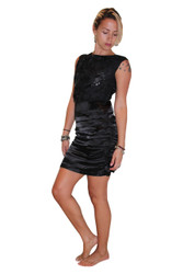 Black Cocktail Dress With Subtle Sequins & Flowers.