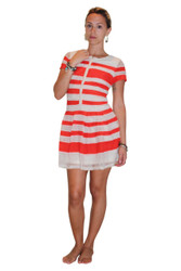 Fully Lined Lace Dress from Lucy & Co! Ivory White with Coral Stripes.