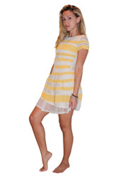 Fully Lined Lace Dress from LUCY & CO! Ivory with Yellow Stripes.
