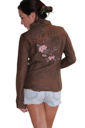 Long Sleeve Embroidered Button Down Western Shirt. Chocolate Brown.