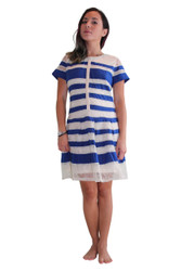 Fully Lined Lace Dress from Lucy & Co! Ivory White with Royal Blue Stripes.