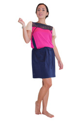 ColorBlock Dress With Sheer Upper. Navy/Fuchsia.