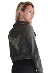 100% Cotton Boutique Military Jacket With Embroidered Eagle & Belted Straps!