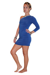 Cobalt Blue Off-Shoulder Bodycon Dress With One Long Sleeve And Jeweled Neckline!