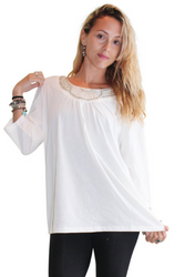 PLUS SIZE Top With Jeweled Neck Line. Ivory.