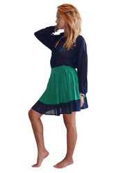 Pleated Green Skirt With Navy Trim From LucyPairs.com