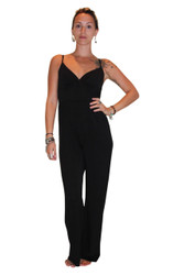 Full Length Stretch Jumpsuit in Solid Black! From Derek Heart!