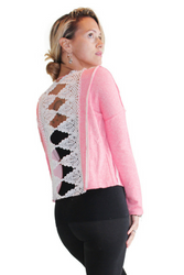 Lace Back Cotton Sweatshirt From Derek Heart! Coral Pink.