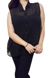 Sleeveless, Sheer Plus Size Button Down Top. Black.